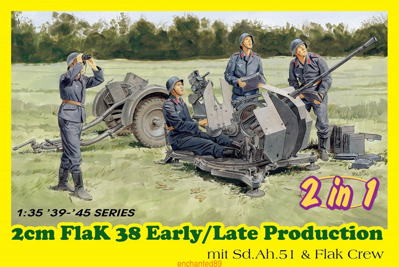 DRAGON 1 35 6942 2cm Flak 38 Early Late Production mit Sd.Ah.51&Flak Crew 2 in 1