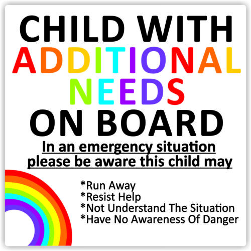 Child With Additional Needs On Board Waterproof Car Sticker Advice//Warning