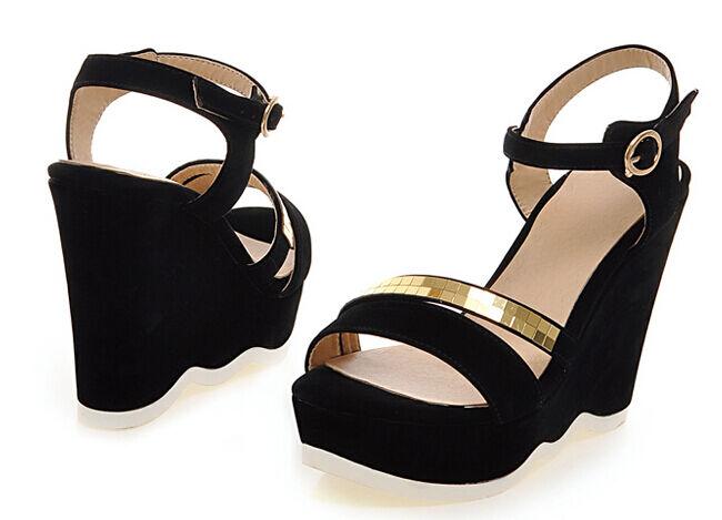 Sandalias de mujer abierto negro oro cuña plataforma 11.5 cm elegante y cómodo