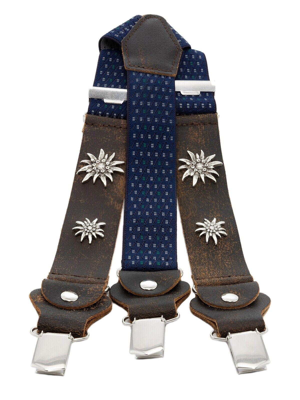 Schuhmacher Trachtenhosenträger Vintage HT906-4 blau mit Edelweiss