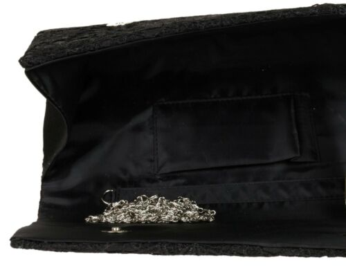 Satin Lace Clutch Bag Both Sides Evening Wedding Bridal Prom Designer Fashion