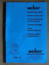 Ersatzteilliste Weber VB 35 Verdichter Rüttelplatte Spare Parts List Listino