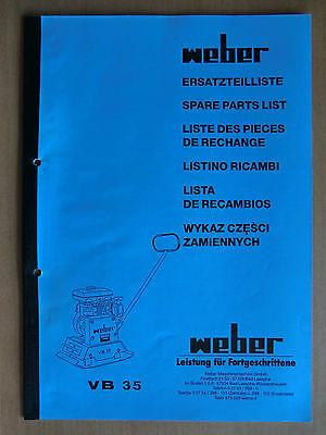 Baugewerbe Initiative Ersatzteilliste Weber Vb 35 Verdichter Rüttelplatte Spare Parts List Listino