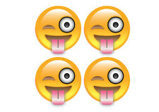 smile Emoji sticker tongue out decal car van campervan bike x 4 5cm diametre