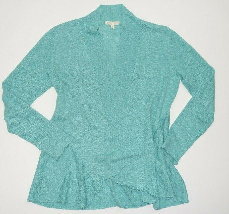 EILEEN FISHER Spearmint Linen Cotton Öffnen Front Cardigan Sweater