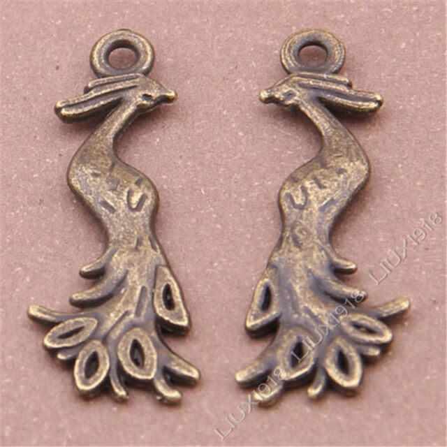 10pc Antique Bronze Phoenix Pendant Charms Dangle Jewellery Making Crafts S327T