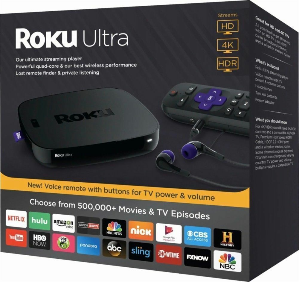 ROKU ULTRA 4K HD STREAMING MEDIA PLAYER (2018) 4661RW BLACK Featured