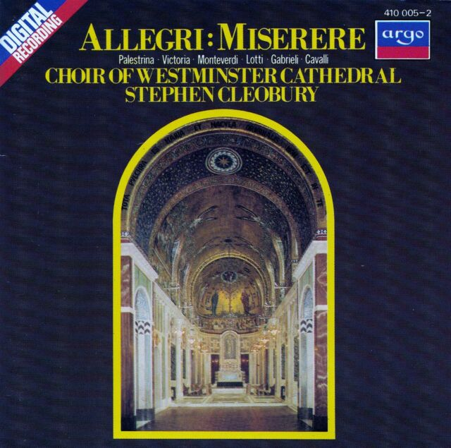 ALLEGRI : MISERERE - WESTMINSTER CATHEDRAL CHOIR, CLEOBURY / CD