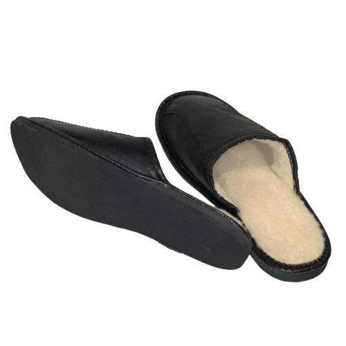 Men Sheepskin Slippers Slip On Shoes Gents Mules Sizes 6-12