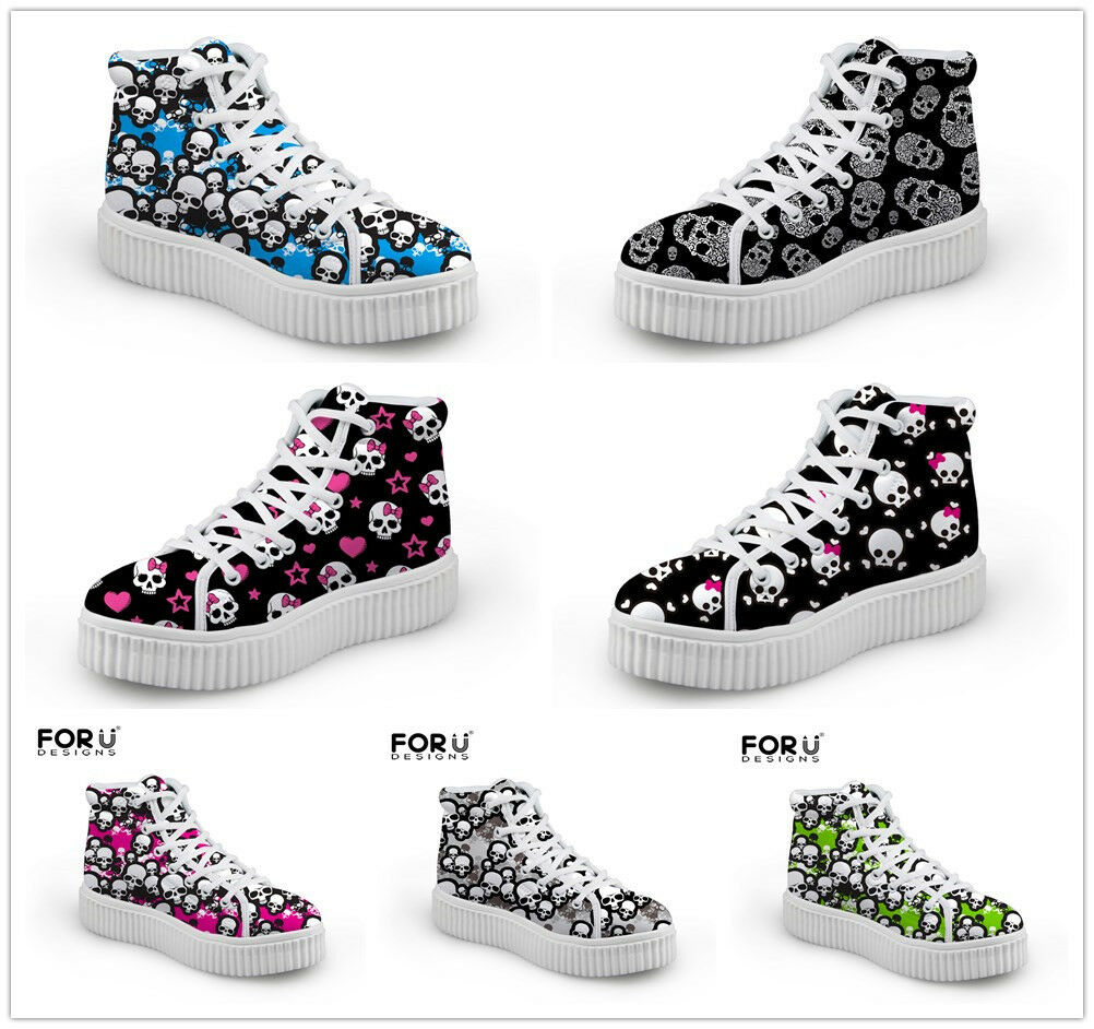 Cute Skull Womens Flat Platform Sneakers Ankle BootsCasual Hi Top Comfort shoes