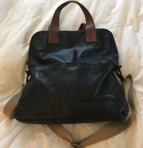 CYNTHIA ROWLEY Black Tan Large Leather Tote Bag Crossbody Purse-NICE ... e7ee404176