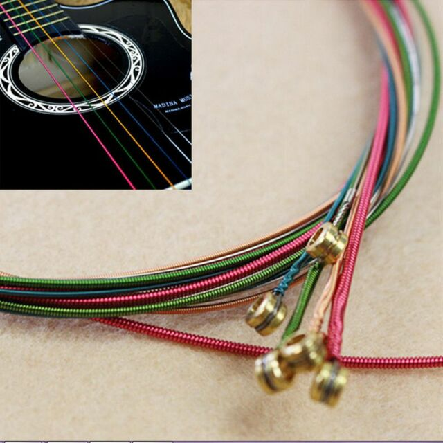 Beauty 1 Set 6pcs Rainbow Colorful Color  Steel Strings for Acoustic Guitar new