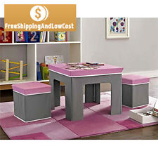 Pink Kid Activity Table Set and 2 Chair Ottoman Stool Toy Storage Play Room