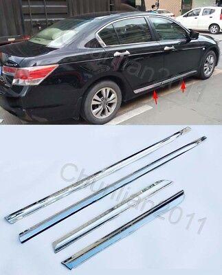 Chrome Body Door Sill Side Molding cover trim for 08-12 Honda Accord 4dr Sedan