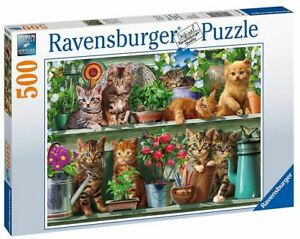Ravensburger 500 piece jigsaw puzzle CATS ON THE SHELF
