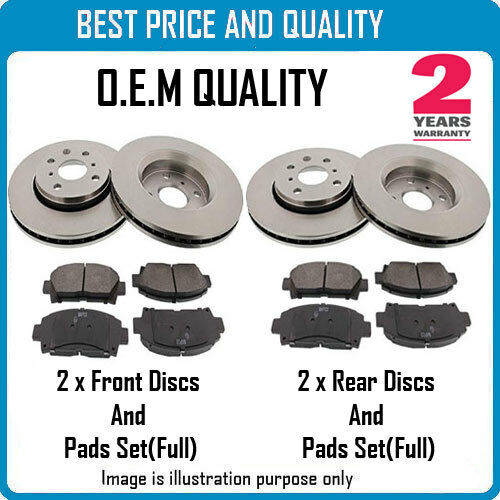 FRONT AND REAR BRKE DISCS AND PADS FOR PEUGEOT OEM QUALITY 2136119825531430