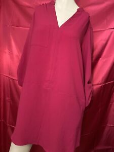Women-s-Lush-Size-Small-Pink-Tunic-Top-Dress-Polyester-Long-Sleeve-CUTE