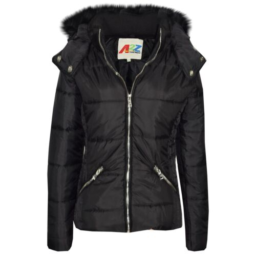 Girls Jacket Kids Cropped Padded Puffer Bubble Fur Collar Warm Thick Coat 3-13Y
