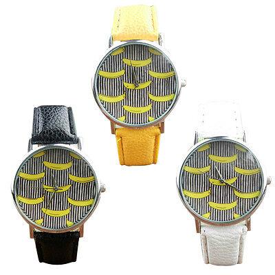 Geneva Banana Wrist Watches Leather Band Analog Quartz Vogue unique hot Watches