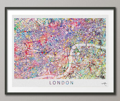 London City Map England illustrations Watercolor Print Wall Wedding Gift Travel