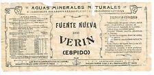 1900s Spain Fuente Nueva Verin Espido Medicinal Water Label Stephens Coll