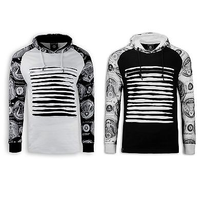 Hooded Long Sleeve 2 Tone Ripped Distressed Chest Sweater Draw Strings Hoodie