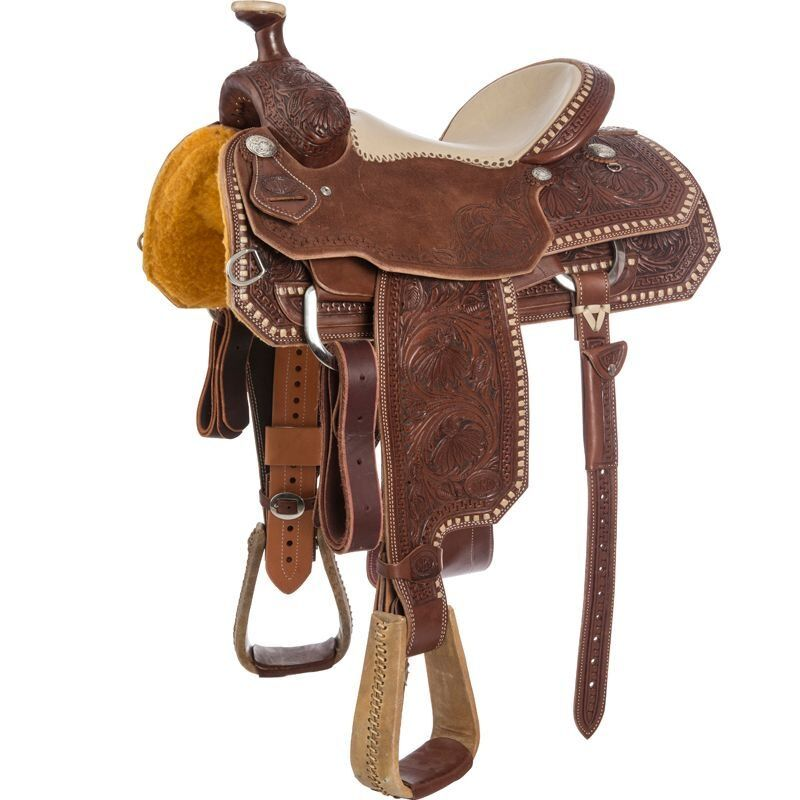Western Marronee Leather Roper Ranch Hand Tooled and Carved 17 Saddle