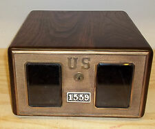 Walnut Post Office Box Security Chest With Drawer-1880 Yale Drawer Front-Beveled