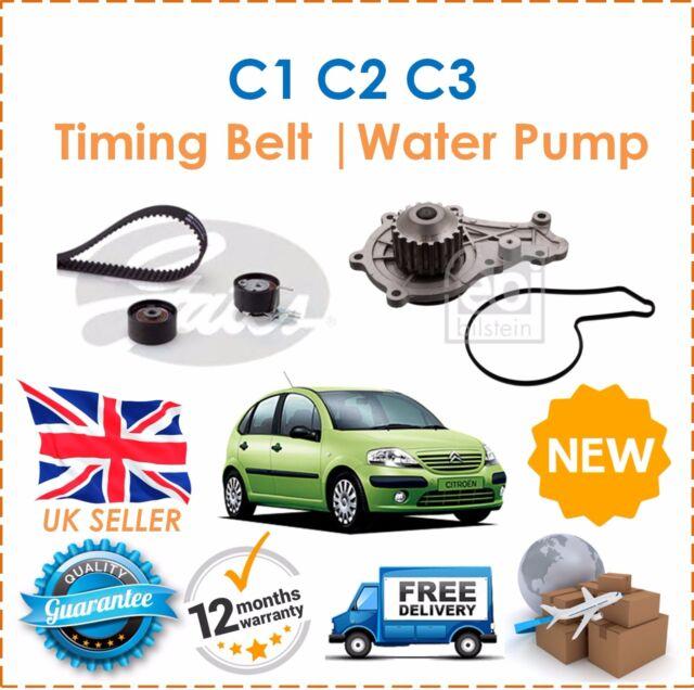 For Citroen C1 C2 C3 1.4HDi 2003- GATES Timing Cam Belt Kit & Water Pump New