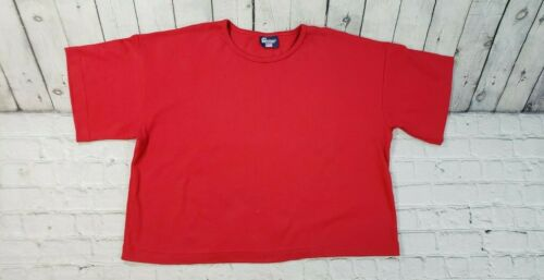 Vassar Red Short Sleeve Shirt Blouse WOMENS SIZE L