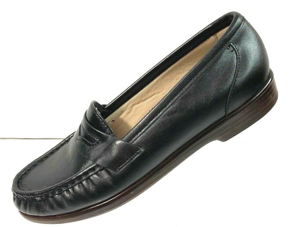 Special Air Service Femmes Noir Cuir à Enfiler Penny Mocassins Chaussures Confort Taille 6N