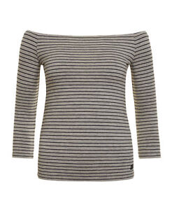 09a144efe48 New Womens Superdry Factory Second Stripe Bardot Top Outre Grey Marl ...