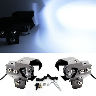 2x Motorcycle CREE U8 125W White LED Headlight Driving Fog Head Spot Light Lamp