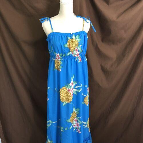 Hilo Hattie Blue Maxi Hawaiian Dress XL Spaghetti