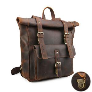 Vintage-Brown-Large-Men-039-s-Real-Leather-17-034-Laptop-Backpack-Shoulder-Bag-Handbag