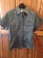 Authentic Cherokee Women Short Sleeve Work Shirt W/tails Scrub Green Sz M
