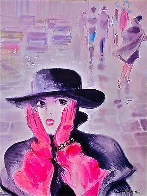 """Erik Freyman """"In New York City"""" original watercolor"""