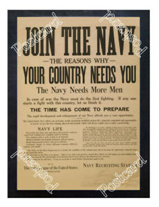 Historic-WWI-Recrutiment-Poster-Join-the-Navy-Your-country-needs-you-Postcard