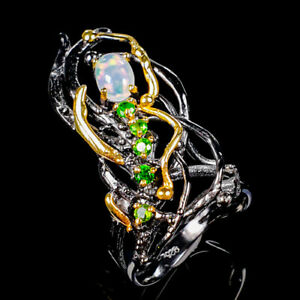 Opal Ring Silver 925 Sterling Beauty Rainbow7x5mm Size 7 /R130628