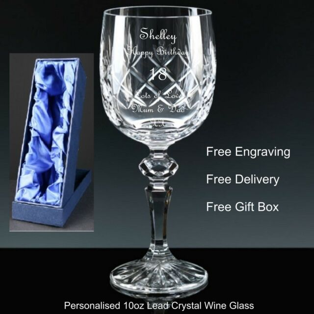 Personalised 10oz Cut Crystal Wine Glass Birthday Gift 18th 21st 30th 40th 50th