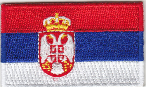"SERBIA FLAG  2 1//2/"" Iron On Patch Flags Symbol"