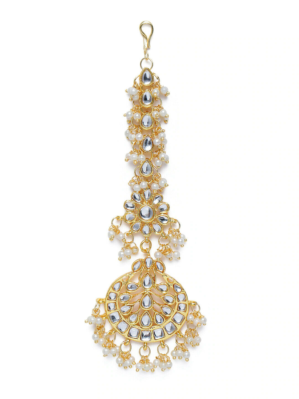 White Gold-Plated Pearl & Kundan Studded Handcrafted Maangtikka mp374