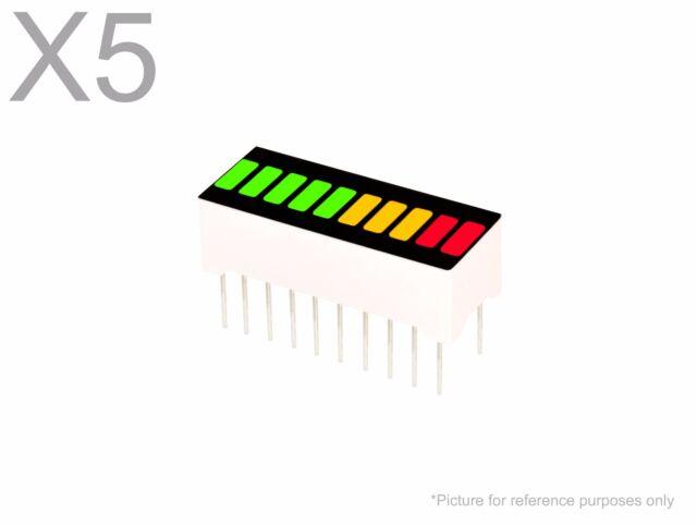 10 Segment Led Bargraph Licht Display Rot Gelb Grün UK Verkäufer