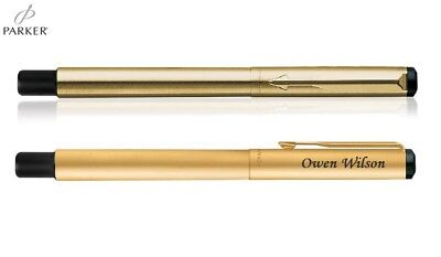 Personalised Engraved Parker Vector Matte Black Gold Trim GT Fountain Ink Pen
