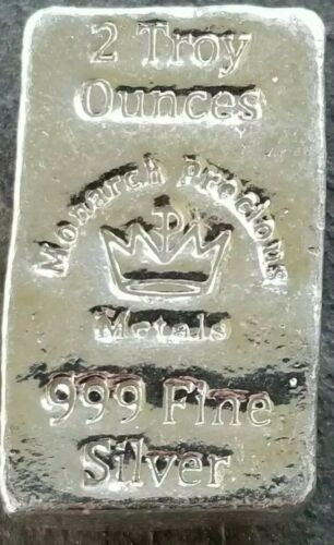 "Monarch Precious Metals 2 Troy Oz /""Lil Chunky/"" .999 Pure Silver Silver Is"