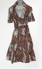 Karen Millen Brown Tropical Print Safari Wrap Style Short Sleeve Dress size 10