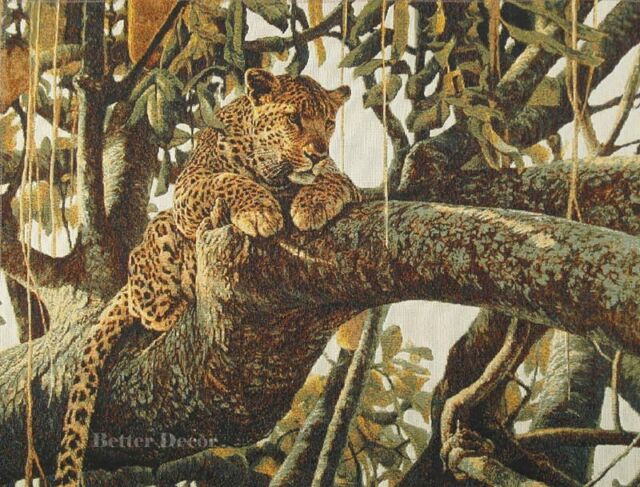 WALL JACQ. WOVEN TAPESTRY Leopard on a Tree WILD LIFE ANIMAL JUNGLE FOREST VIEW
