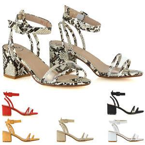 Sandalias-De-Mujer-Correa-De-Tobillo-Talon-Mediados-Damas-PERSPEX-Peep-Toe-Fiesta-Zapatos-Talla-3-8
