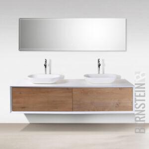Details zu Badmöbel 180 cm Eiche LED Spiegel Aufsatzwaschbecken  Unterschrank Waschtisch