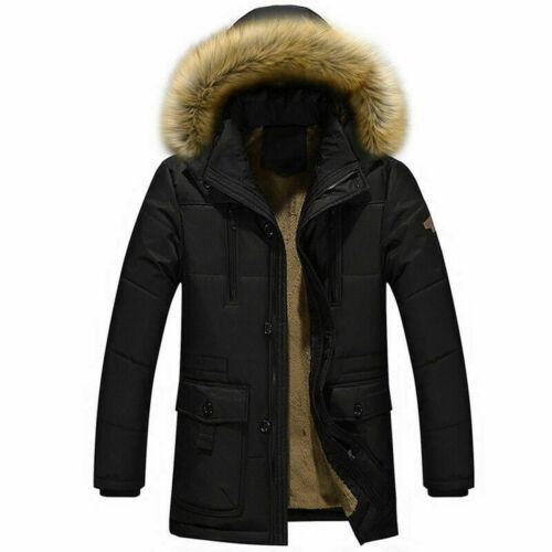 Mens Fleece Lined Faux Fur Hooded Coat Longline Jacket Parka Overcoat Warm SPW